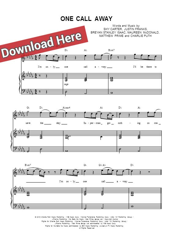 Charlie Puth One Call Away Sheet Music Piano Notes Chords