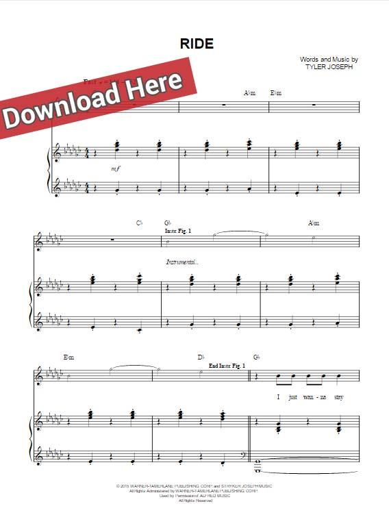 twenty one pilots, ride, sheet music, piano notes, chords, download, keyboard, guitar, pdf