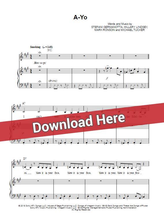 lady gaga, a yo, sheet music, chords, piano notes, download, free, klaveier noten, tutorial, lesson