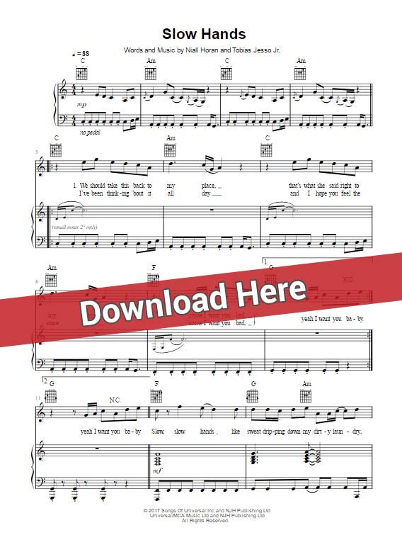 Niall Horan Slow Hands PIano Sheet Music Notes, Chords