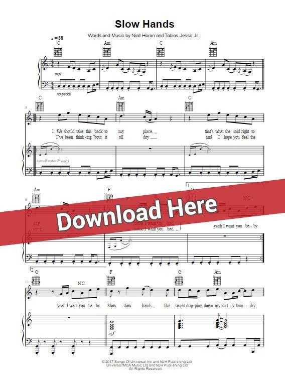 Niall Horan Slow Hands Piano Sheet Music Notes Chords