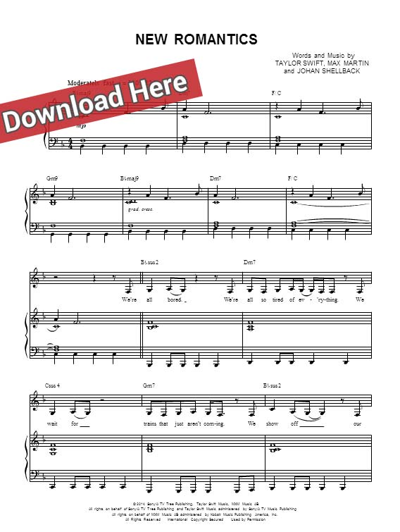 taylor swift, new romantics, sheet music, chords, piano notes, score, download, keyboard, guitar, tabs, klavier noten, partition,how to play, learn