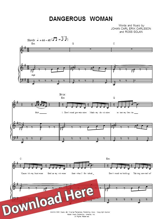 ariana grande, dangerous woman, lesson, tutorial, sheet music, piano notes, score, chords, keyboard, klavier noten, partition, how to play, learn, download