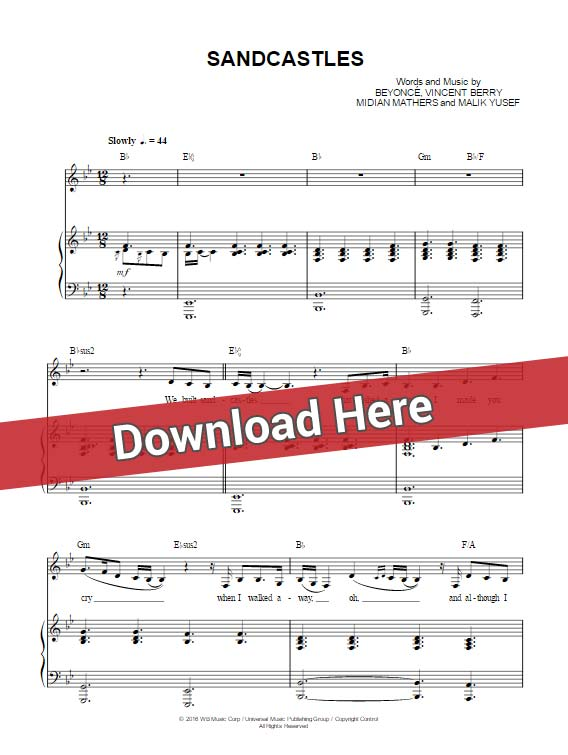 beyonce, sandcastles, sheet music, piano chords notes, klavier noten, keyboard, guitar, tabs, tutorial, lesson, saxophone, flute, violin