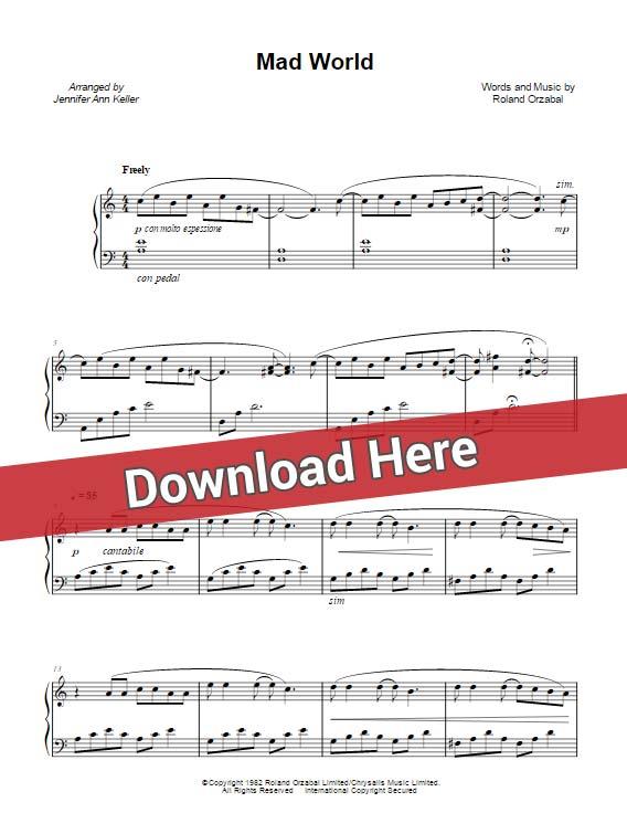 jennifer ann, mad world, sheet music, chords, score, keyboard, guitar, tutorial, lesson, cover, klavier noten, partition