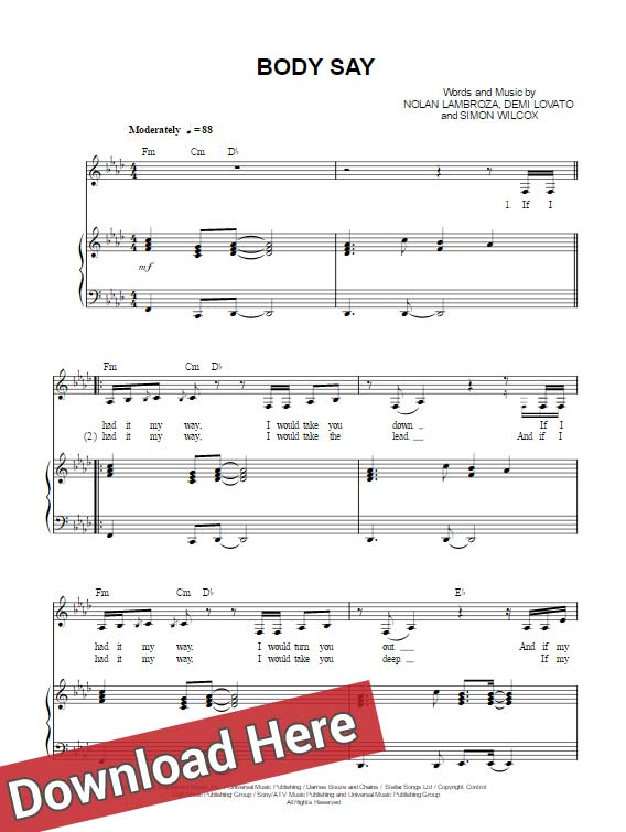 demi lovato, body say, sheet music, piano notes, chords, score, keyboard, guitar, tabs, klavier noten, tutorial, lesson