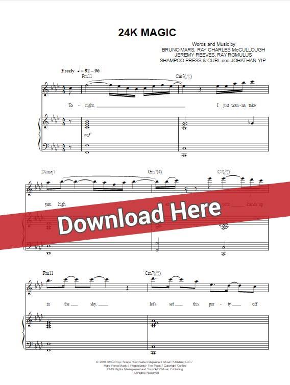 bruno mars, 24k magic, sheet music,, piano notes, chords, score, keyboard, tutorial, lesson, klavier noten, download, pdf